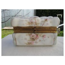 Antique Wave Crest Puffy Egg Crate Pink Floral Jewelry Box