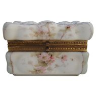 Antique Wave Crest Wavecrest Puffy Egg Crate Pink Floral Jewelry Box