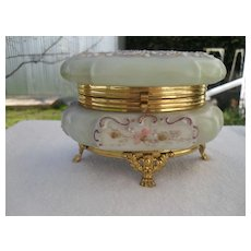Antique Wave Crest Pink Purple Floral Footed Jewelry Box