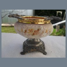 Antique Wave Crest Wavecrest Floral Footed Pin Box