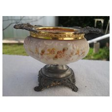 Antique Wave Crest Wavecrest Floral Footed Pin Box