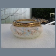 Antique Wave Crest Wavecrest Blue Floral Pin Box Signed