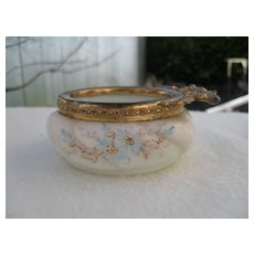Antique Wave Crest Wavecrest Blue Floral Pin Box Signed