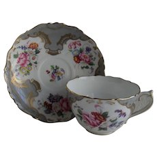 Coalport England Rosemary Floral Spray Gray Teacup and Saucer