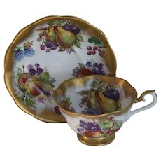 Royal Albert Fruit and Berries Gold Gilt Teacup and Saucer
