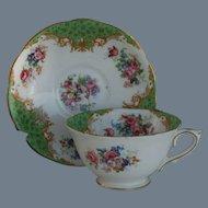 Royal Paragon Cockatrice Green Teacup and Saucer