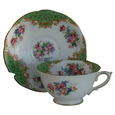 Royal Paragon Cockatrice Green Teacup and Saucer