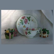 Aynsley Pink Cosmos Green Trim Handle Teacup and Saucer