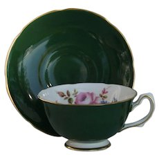 Royal Grafton Deep Forest Green Pink Rose Floral Teacup and Saucer
