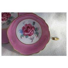 Elegant Paragon DW Large Pink Rose Pink Teacup and Saucer A1401
