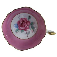 Elegant Paragon DW Large Pink Rose Pink Teacup and Saucer A1401