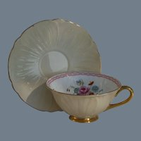 Rare Shelley Pale Apricot Oleander Teacup and Saucer