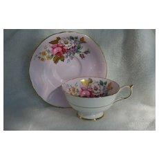 Paragon DW Pink Rose Gold Foliage Pink Teacup and Saucer