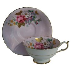 Paragon DW Pink Rose Gold Foliage Pink Teacup and Saucer