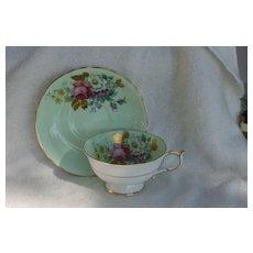 Paragon DW Pink Rose Gold Foliage Mint Green Teacup and Saucer
