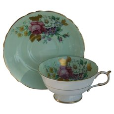 Paragon DW Pink Rose Gold Foliage Mint Green Teacup and Saucer