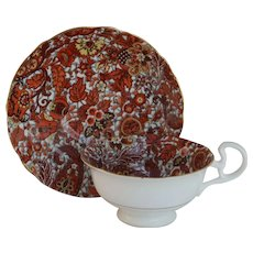 Radfords England Copper Rust Paisley Chintz Teacup and Saucer