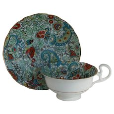 Radfords England Turquoise Blue Paisley Chintz Teacup and Saucer