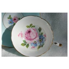 Paragon DW Pink Cabbage Rose on Turquoise Teacup and Saucer