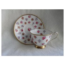 Royal Chelsea Pink Roses Teacup and Saucer