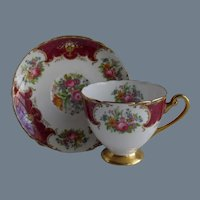 Shelley Duchess Burgundy Floral Teacup and Saucer 13404