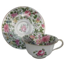 Crown Staffordshire Pink Rose Floral Chintz Teacup and Saucer