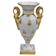 Vintage Limoges Swan Handle Bumblebee Gold Vase