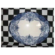 "Vintage Flow Blue Hanley Weatherby Welbeck Meat Tray 16"""
