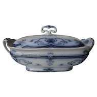 Early Ford & Sons Flow Blue Milan Burslem Covered Tureen 1881