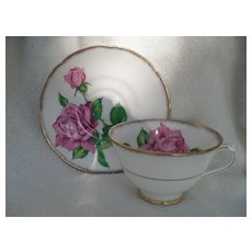 Vintage Collingwoods England  Pink Tudor Rose Teacup and Saucer