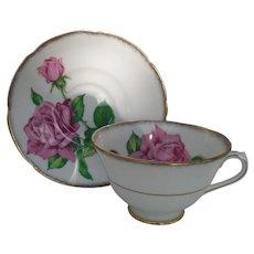 Vintage Collingwoods England  Pink Tudor Rose Teacup and Saucer