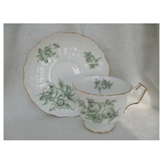 Pretty Aynsley Sage Green Rose Teacup and Saucer