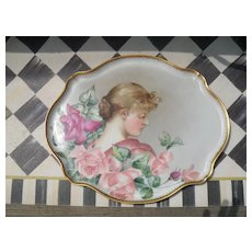 Fine J Pouyat Limoges France Portrait Red Pink Roses Dresser Tray