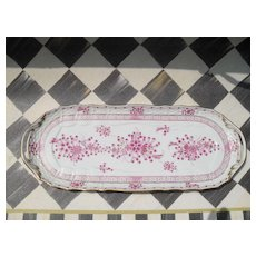 Herend Waldstein Rose Handled Sandwich Tray