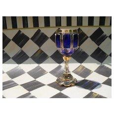 Moser Sapphire Blue Gold Panelled Wine Goblet
