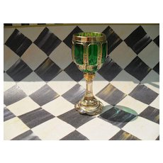 Moser Emerald Green Gold Panelled Wine Glass