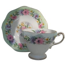 Sweet EB Foley Pink Blue Cornflower Teacup and Saucer