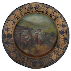 Old Barbee Whiskey Tin Vienna Art Plate
