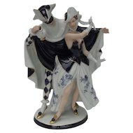 Large Royal Dux The Masquerade Carnival of Venice Statue