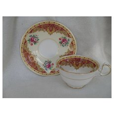 Charming Aynsley Pink Rose Floral Teacup and Saucer 1042/6