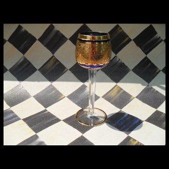 Cobalt Blue Crystal and Gold Faceted Toasting Goblet