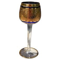 Cobalt Blue Crystal and Gold Faceted Toasting Goblet