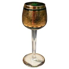 Green Crystal and Gold Faceted Toasting Goblet