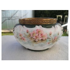 Early Wave Crest Black Mark Pink Flowers Green Molded Dresser Jar
