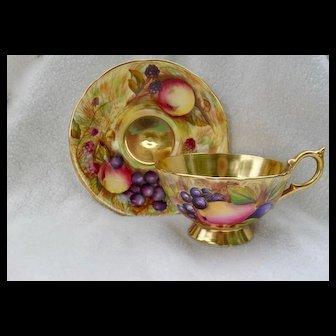 Aynsley Orchard Gold Gilt Teacup and Saucer Signed Brunt