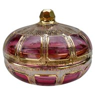 Moser Cranberry Ruby Gold Panelled Glass Dish