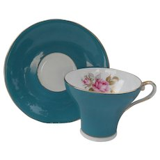 Aynsley Turquoise Corset Shape Rose Teacup and Saucer