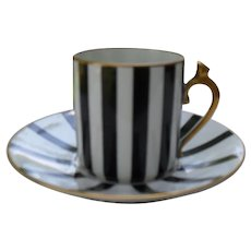 Limoges CF & P Black  & Gold Handle Demitasse Cup and Saucer