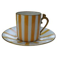 Limoges CF & P Yellow & Gold Handle Demitasse Cup and Saucer
