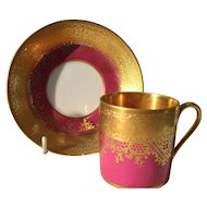 DW Karlsbad Raspberry Pink Gold Encrusted Demitasse Cup/Saucer